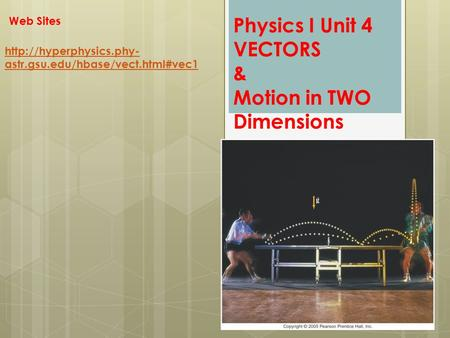 Physics I Unit 4 VECTORS & Motion in TWO Dimensions  astr.gsu.edu/hbase/vect.html#vec1 Web Sites.