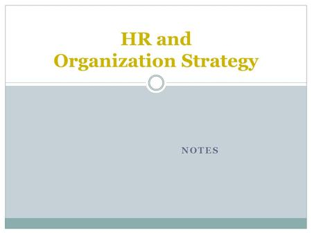 NOTES HR and Organization Strategy. For more on Indian HR industry, click hereclick here Road Map  Introductions and course overview.  Changes in the.