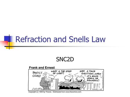 Refraction and Snells Law SNC2D Index of Refraction Light will travel more slowly in more dense materials. The ratio of the speed of light in a vacuum.