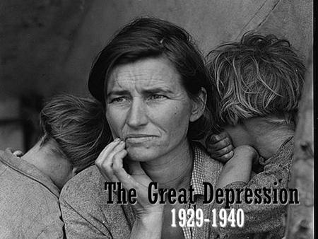 The Great Depression 1929-1940. How The Great Depression Came The Great Depression was caused by an uneven distribution of income which led to a huge.