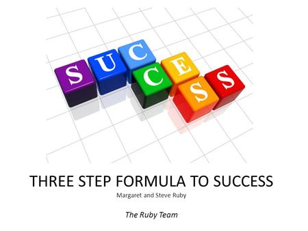 THREE STEP FORMULA TO SUCCESS Margaret and Steve Ruby The Ruby Team.