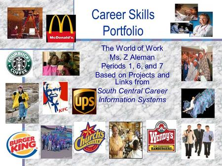 Career Skills Portfolio The World of Work Ms. Z Aleman Periods 1, 6, and 7 Based on Projects and Links from South Central Career Information Systems.