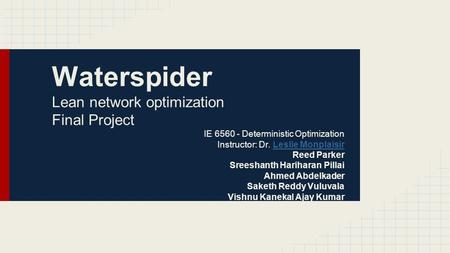 Waterspider Lean network optimization Final Project IE 6560 - Deterministic Optimization Instructor: Dr. Leslie MonplaisirLeslie Monplaisir Reed Parker.