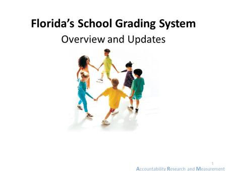 A ccountability R esearch and M easurement Florida's School Grading System Overview and Updates 1.