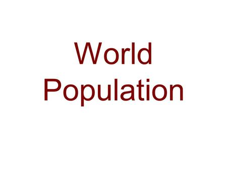 World Population. World Population Distribution 2000.