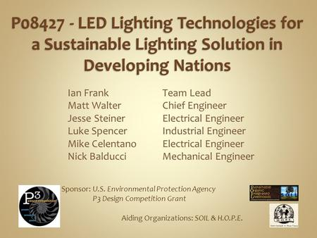 Ian Frank Matt Walter Jesse Steiner Luke Spencer Mike Celentano Nick Balducci Team Lead Chief Engineer Electrical Engineer Industrial Engineer Electrical.