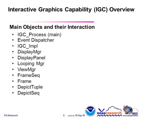 FX-Advanced (original) 18 Sep 96 1 Interactive Graphics Capability (IGC) Overview IGC_Process (main) Event Dispatcher IGC_Impl DisplayMgr DisplayPanel.