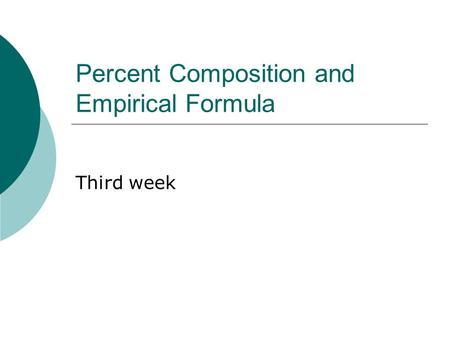 Percent Composition and Empirical Formula