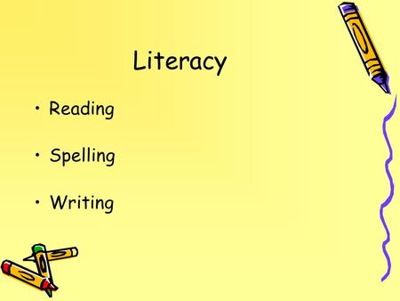 Literacy Reading Spelling Writing.