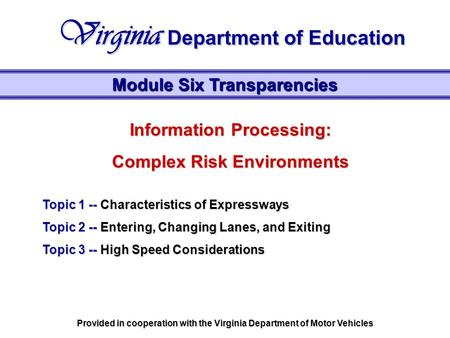 Information Processing: Complex Risk Environments Topic 1 -- Characteristics of Expressways Topic 2 -- Entering, Changing Lanes, and Exiting Topic 3 --