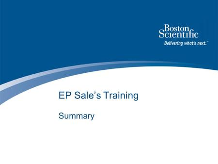 EP Sale's Training Summary.