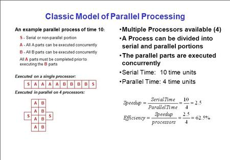Classic Model of Parallel Processing Multiple Processors available (4) A Process can be divided into serial and parallel portions The parallel parts are.