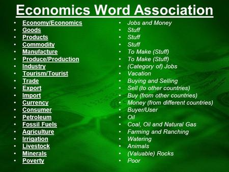 Economics Word Association Economy/Economics Goods Products Commodity Manufacture Produce/Production Industry Tourism/Tourist Trade Export Import Currency.