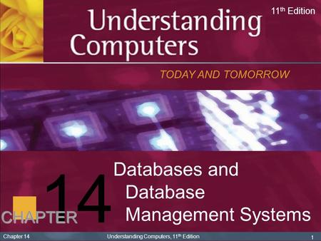 1 Chapter 14 Understanding Computers, 11 th Edition 14 Databases and Database Management Systems TODAY AND TOMORROW 11 th Edition CHAPTER.