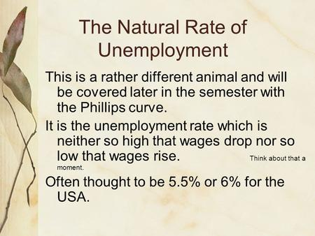 The Natural Rate of Unemployment This is a rather different animal and will be covered later in the semester with the Phillips curve. It is the unemployment.
