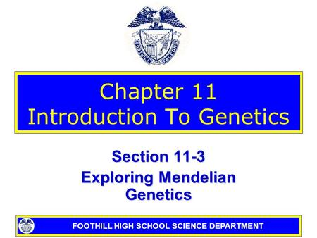 FOOTHILL HIGH SCHOOL SCIENCE DEPARTMENT Chapter 11 Introduction To Genetics Section 11-3 Exploring Mendelian Genetics.