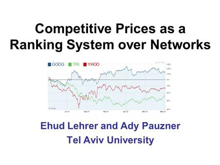Competitive Prices as a Ranking System over Networks Ehud Lehrer and Ady Pauzner Tel Aviv University.