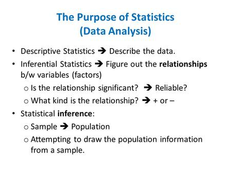 The Purpose of Statistics (Data Analysis)