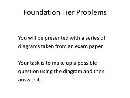 Foundation Tier Problems You will be presented with a series of diagrams taken from an exam paper. Your task is to make up a possible question using the.