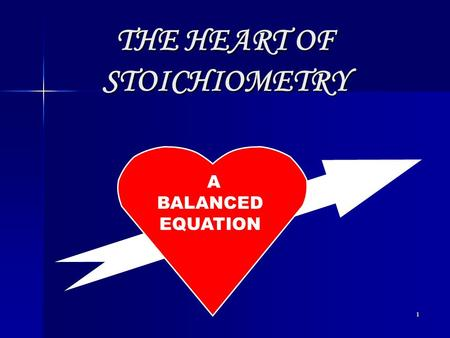 1 A BALANCED EQUATION THE HEART OF STOICHIOMETRY.