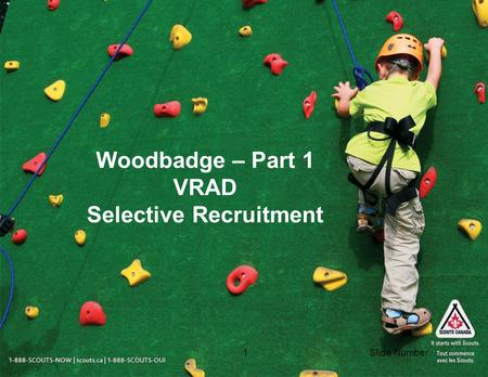 Slide Number1 Woodbadge – Part 1 VRAD Selective Recruitment.