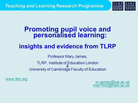 Promoting pupil voice and personalised learning: