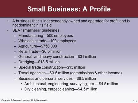 Copyright © Cengage Learning. All rights reserved. 5 | 1 Small Business: A Profile A business that is independently owned and operated for profit and is.