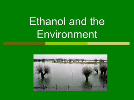 Ethanol and the Environment. Reduction of Exhaust Emissions  Ethanol burns cleaner and is more efficient than gasoline – reducing carbon monoxide released.
