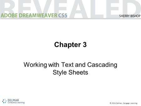 © 2011 Delmar, Cengage Learning Chapter 3 Working with Text and Cascading Style Sheets.