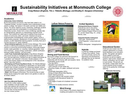 Sustainability Initiatives at Monmouth College Craig Watson (English), Tim J. Tibbetts (Biology), and Bradley E. Sturgeon (Chemistry) Citizenship- Green.