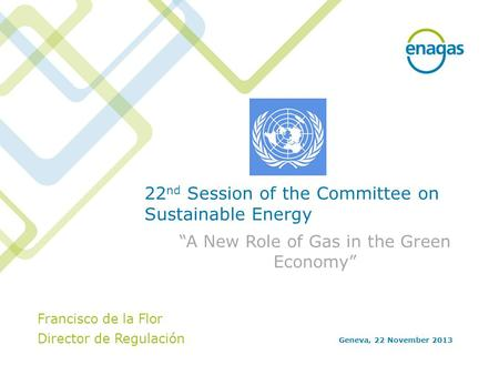"22 nd Session of the Committee on Sustainable Energy ""A New Role of Gas in the Green Economy"" Geneva, 22 November 2013 Francisco de la Flor Director de."