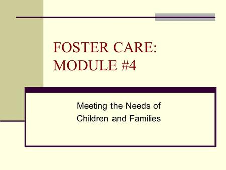 FOSTER CARE: MODULE #4 Meeting the Needs of Children and Families.