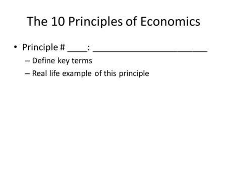 The 10 Principles of Economics