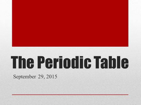 The Periodic Table September 29, 2015. Learning Target I must know/be able to: Interpret the arrangement of the Periodic Table, including groups and periods,