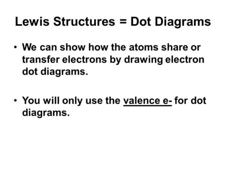 Lewis Structures = Dot Diagrams We can show how the atoms share or transfer electrons by drawing electron dot diagrams. You will only use the valence e-