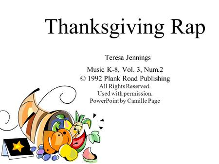 Thanksgiving Rap Teresa Jennings Music K-8, Vol. 3, Num