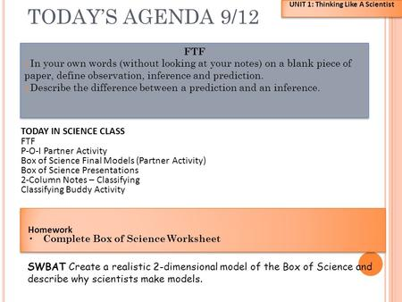 TODAY'S AGENDA 9/12 FTF 1. In your own words (without looking at your notes) on a blank piece of paper, define observation, inference and prediction. 2.