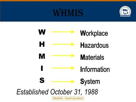 WHMIS 2003 1 W H M I S Established October 31, 1988.