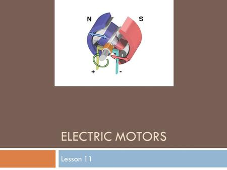 ELECTRIC MOTORS Lesson 11. The motor principle  Michael Faraday was the first person to create a device that used electromagnets with a permanent magnet.