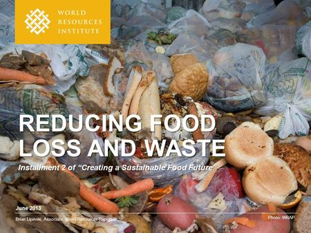"June 2013 Brian Lipinski, Associate, World Resources Report Photo: WRAP REDUCING FOOD LOSS AND WASTE Installment 2 of ""Creating a Sustainable Food Future"""