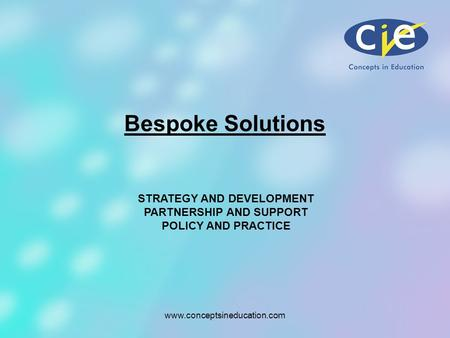 Www.conceptsineducation.com STRATEGY AND DEVELOPMENT PARTNERSHIP AND SUPPORT POLICY AND PRACTICE Bespoke Solutions.