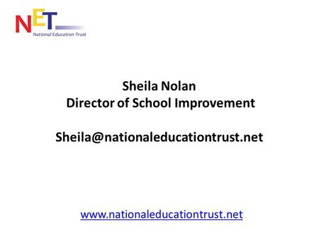 Sheila Nolan Director of School Improvement