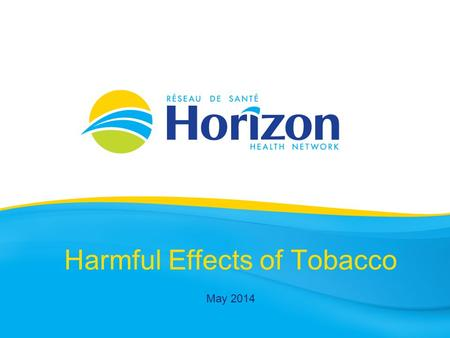 Harmful Effects of Tobacco May 2014. Health Info Prepared by Public Health Vitalité Health Network November 2013.
