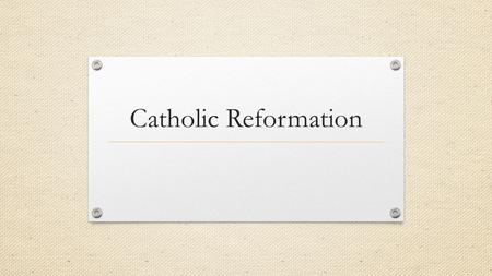 Catholic Reformation. Counter Reformation Protestants were gaining many followers Millions stayed loyal to Catholicism Movement to keep followers Reform.