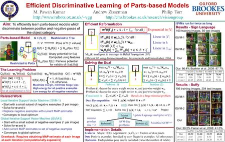 Efficient Discriminative Learning of Parts-based Models M. Pawan Kumar Andrew Zisserman Philip Torr