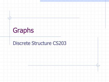 Graphs Discrete Structure CS203. Adjacency Matrix We already saw a way of representing relations on a set with a Boolean matrix: R digraph(R) M R1234.