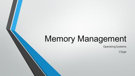 Memory Management Operating Systems CS550. Memory Manager Memory manager - manages allocation and de-allocation of main memory Plays significant impact.