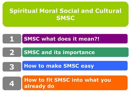 Spiritual Moral Social and Cultural SMSC 1 SMSC what does it mean?! How to fit SMSC into what you already do SMSC and its importance 2 3 4 How to make.