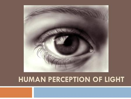 HUMAN PERCEPTION OF LIGHT. Perceiving Light  Visual perception is a very complex process that involves both eyesight and using your brain to make sense.