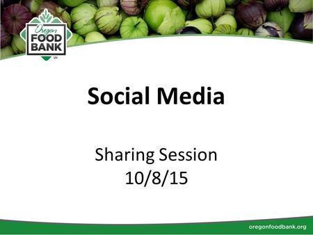 Social Media Sharing Session 10/8/15. Introductions Name RFB What social media platforms do you currently use? Who is involved with social media at your.